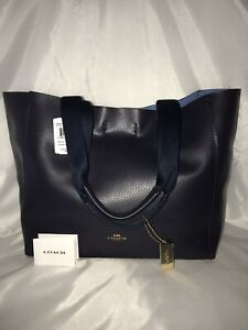New Coach New York Derby Leather Tote Suede Handbag Midnight Lapis MSRP $298.00