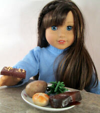 AG Doll Miniature Meat Loaf, Potato and Green Bean  Dinner with Brownies