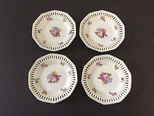 "Lot of 4 Mikori Ware Japan 10-sided Reticulated Floral - 5-1/2"" BREAD PLATE"