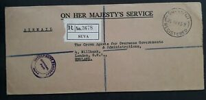1965 Fiji O.H.M.S. Registered Cover with Govt Pharmacy Suva cds to London