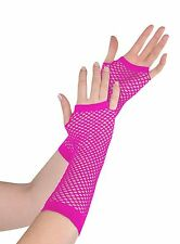 SEXY- LONG FINGER LESS FISHNET GLOVES- NEON PINK COLOUR.