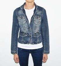 Blue Denim ZARA Hips Length Button Fitted Faded Women's Blazer Jacket Size S