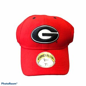 GEORGIA BULLDOGS Fitted Hat NEW ERA 7 1/8 Concealer Red Black