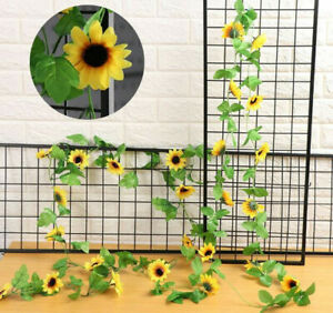 Fake Silk Sunflower Ivy Vine Artificial Flower With Green Leaves Hanging Garland