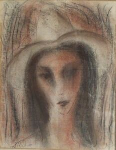Great Cuban Artist HECTOR MOLNE Signed Pastel/Crayon on Paper Portrait Painting