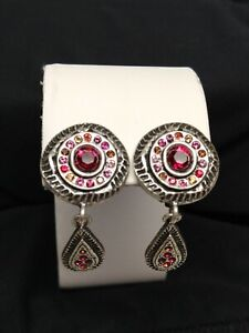 Patricia Locke Selene Clip Earrings Silver Moulin Rouge  Swarovski Crystals