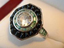 14k Solid White Gold Art Deco Onyx Emerald White Sapphire Ring, R604 Custom