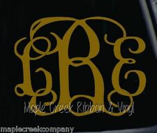 "Clinging Vine Monogram Decal - Gold - Choose your letters - 7"" wide"