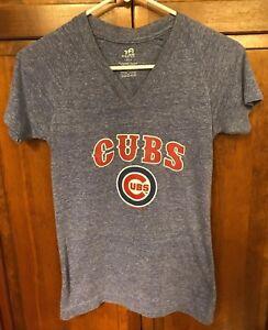 Chicago Cubs Kris Bryant 17 Women Juniors L 14 V Neck Tee T Shirt Blue Bling