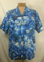 KY'S Mens Hawaiian Aloha SS Button UP Shirt Blue Islands Palm Tree Floral Sz XL