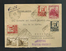 1937 Spain Civil War Censored Cover to Sanus Argentina bank of La Plata