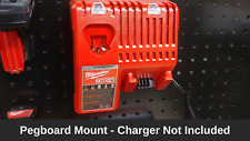 Tool Storage- Pegboard Mount For Milwaukee M12 and M18 MultiVolt Battery Charger