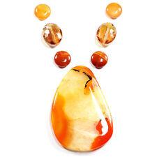 Carnelian feu Agate & collier cristal Mystic Pendentif Bead Set fait main perles U