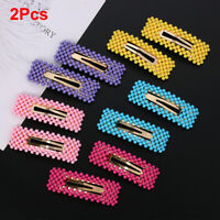 2Pcs Women Pearl Hair Clip Snap Barrette Stick Hairpin Bobby Hair Accessories