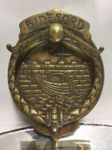 VTG. Antique Bideford 1577 Old Reddish Bronze Brass Door Knocker