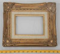 "Vintage 10""x12"" Painted Gold Wood Ornate Picture Frame for 4""x6"" tthc"