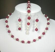 Echtperlen Hals- Armkette Ohrringe mit roten Jadeperlen