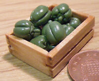 1:12 Scale 8 Green Bell Peppers In A Wood Crate Dolls House Vegetable Accessory