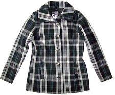 Women's Oakley Coaster Pea Jacket Coat Wool Peacoat Black Grey Plaid Size S