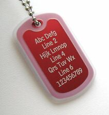 PERSONALIZED Dog Tag Necklace Horizontal Words - RED with CLEAR Silencer