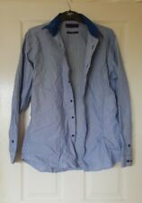 Mens Cotton Blue Normal Collar Shirt Used Slim Fit Next Long Sleeved 16.5 42cm