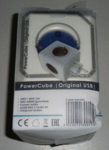 allocacoc PowerCube Original, Steckdosenwürfel 3680W blau/weiss mit 2x USB