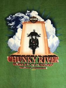 Harley Davidson T Shirt Size L Chunky River Meridian, MS 2004 Green Blue Brown