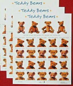 Three Centennial Sheets x 20 = 60 of TEDDY BEAR 37¢ US USA Stamps. Sc 3653-3656