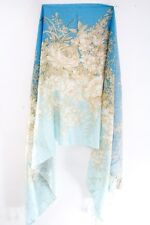 GORGEOUS TURQUOISE/BLUE ULTRA SOFT SCARF BROWN FLORAL PATTERN & FRINGE (MS30)