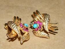 Vtg CORO Egyptian Revival Pink Rhinestone Faux Turquoise Clip Earrings w/ Patent