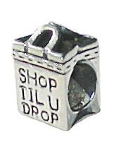 Rhona Sutton 925 Sterling Silver European  'shop til u drop' tote bag charm bead