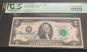 SCARCE 1976 $2 STAR* NOTE  FEDERAL RESERVE NOTE COURTESY AUTOGRAPH  PCGS 64PPQ