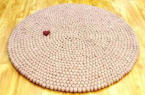 100% Wool Handmade Felt Ball Rug Pom Pom Area Rug Choose Size 90 To 300 CM Nepal