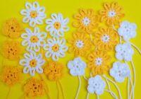 20 Mixed Yellow and White Handmade  Crochet Flowers