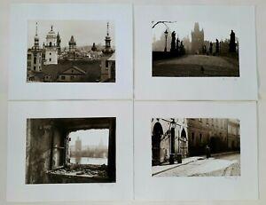 4 original S/W Fotografien von Prag signiert mit Passepartout
