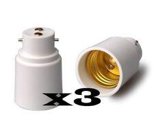 3 ADAPTATEURS DOUILLE B22 E27 AMPOULE CULOT LAMPE baionnette vers gros culot vis