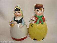 Vintage Salt Pepper W. Goebel Dutch Boy and Girl with Flowers 3 inch P449 P450