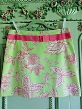 MOLLY B. SKIRT  6 , PALE GREEN, PINK FLORAL,  FULLY LINED,  BOW AT WAIST, SIDE Z