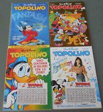 Topolino, lotto di 4 fumetti, con piccoli gadget. Ottimi.