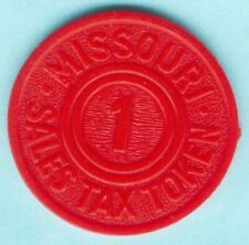 United States Tax Token Missouri 1 Sales Tax Token Red Plastic