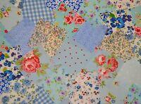 """50 x 4"""" PATCHWORK FABRIC SQUARES INCL CATH KIDSTON COTTON ROSALI BLUE  BUNDLE"""