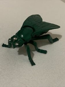 Vintage Cast Iron Fly Insect Match Holder Trinket Box hinged Wings lid Green