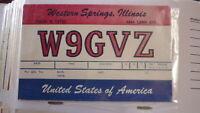 OLD VINTAGE QSL HAM RADIO CARD POSTCARD, WESTERN SPRINGS ILLINOIS 1960s