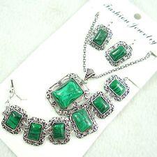 Women Tibetan Silver malachite Pendant Necklace Bracelets, earrings   AG-5