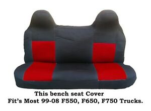 Black/Red Mesh Fabric Bench seat cover Ford F550,F650,F750 Fit's 99-2008 Truck's