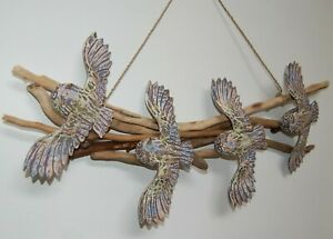 Wall hanging with 4 hand carved wooden owls on driftwood 60cm x 24cm - mauve