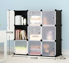 Plastic 3 Tiers 3 Columns Interlocking Cube Storage Bookcase Shelves 9 Boxes
