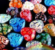100pc Mixed Shining Heart Millefiori Glass Beads DIY Craft Beads Multi-Color 8mm