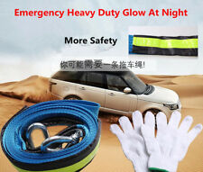 Nylon Night Light Warning Traction Rope Hooks Bag Gloves for 7~8Tons Car Towing