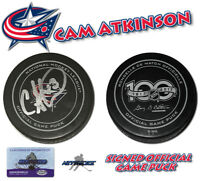 Cam Atkinson Signed Game Puck Columbus Blue Jackets 100th Annv Puck w/COA #2